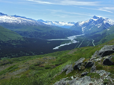 Top of Thomson Pass looking down into Key Stone Canyon. This is the only road into Valdez.