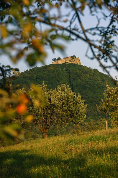 Castle Hohenneuffen at sunset