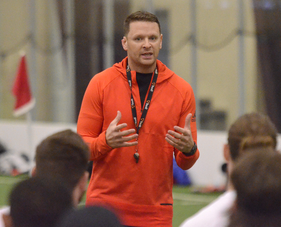 . STAN HUDY/SHUDY@DIGITALFIRSTMEDIA.COMAlbany Empire head coach Rob Keefe adresses the more than 200 athletes in attendence Saturday during the nationwide open tryouts at the SportsPlex of Halfmoon.