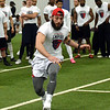 STAN HUDY/SHUDY@DIGITALFIRSTMEDIA.COM<br /> Albany Empire tryout Eugene Padula races toward an end line during the shuttle run Saturday during the nationwide open tryouts at the SportsPlex of Halfmoon.