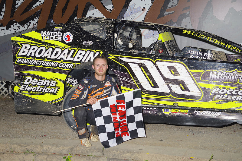 "Sportsman winner Connor Cleveland #09 at Albany-Saratoga Speedway June 29, courtesy Kustom Keepsakes, Mark Brown and Ryan Karabin. For reprints and more,visit <a href=""https://nepart.smugmug.com"">https://nepart.smugmug.com</a>"