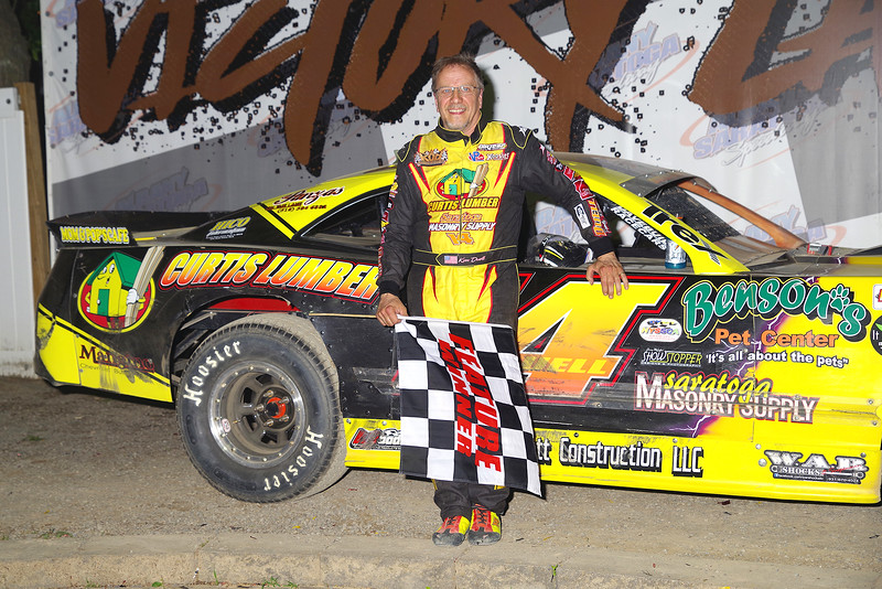 "Pro Stock Winner Kim Duell #14 at Albany-Saratoga Speedway June 29, courtesy Kustom Keepsakes, Mark Brown and Ryan Karabin. For reprints and more,visit <a href=""https://nepart.smugmug.com"">https://nepart.smugmug.com</a>"
