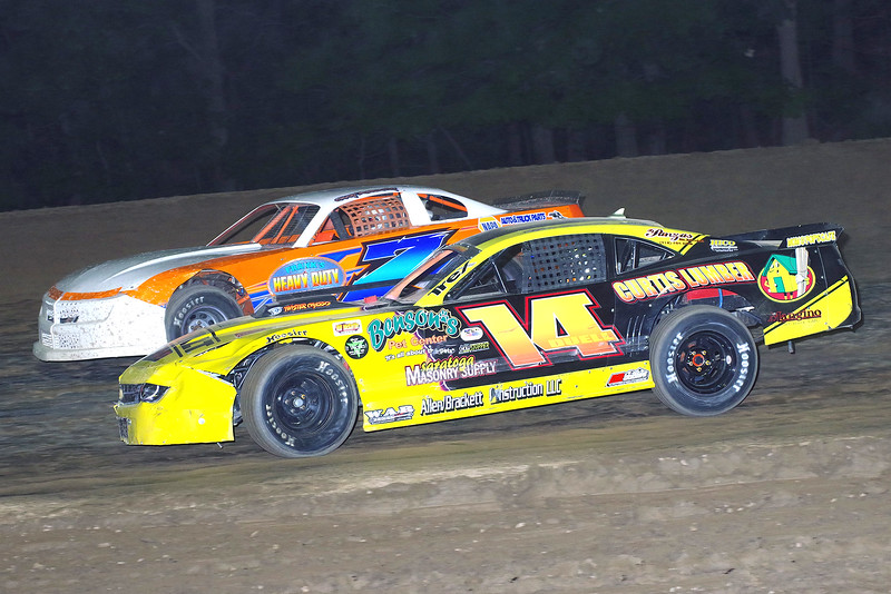"Pro stock action Kim Duell #14 & Chuck Dumblewski #7 at Albany-Saratoga Speedway June 29, courtesy Kustom Keepsakes, Mark Brown and Ryan Karabin. For reprints and more,visit <a href=""https://nepart.smugmug.com"">https://nepart.smugmug.com</a>"