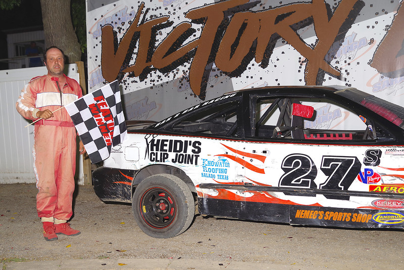 "Single Cam 4 cylinder winner Johnny Bennett #27s at Albany-Saratoga Speedway June 29, courtesy Kustom Keepsakes, Mark Brown and Ryan Karabin. For reprints and more,visit <a href=""https://nepart.smugmug.com"">https://nepart.smugmug.com</a>"