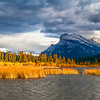 Rundle Mountain and the Golden Light at Vermillion Lakes
