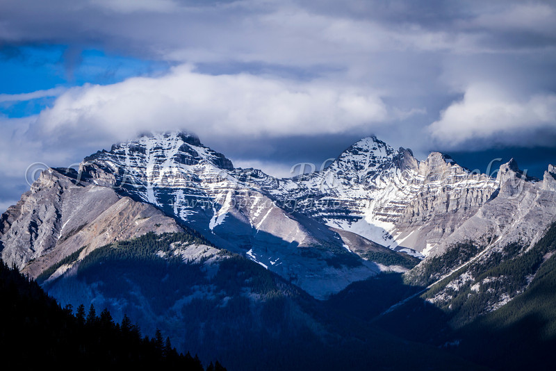 Glaciated mountain peaks in Banff National Park, Alberta, Canada.
