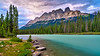 Castle Mountain and the Bow River in Banff National Park, Alberta, Canada.