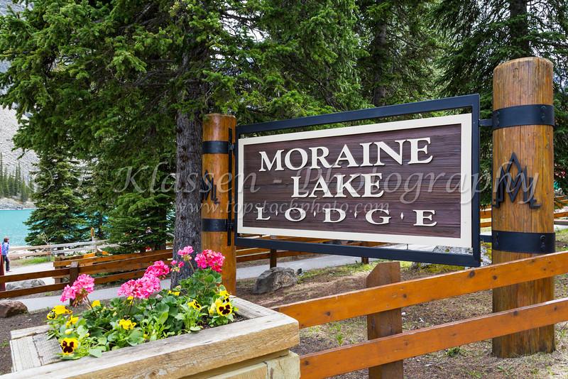 The Moraine Lake Lodge sign in Banff National Park, Alberta, Canada.