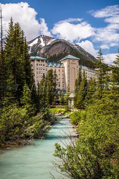 The Fairmont Chateau Lake Louise Hotel at Lake Louise, Banff National Park, Alberta, Canada.