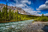 A Bow River scenic along the Ice fields Parkway in Banff National Park, Alberta, Canada.
