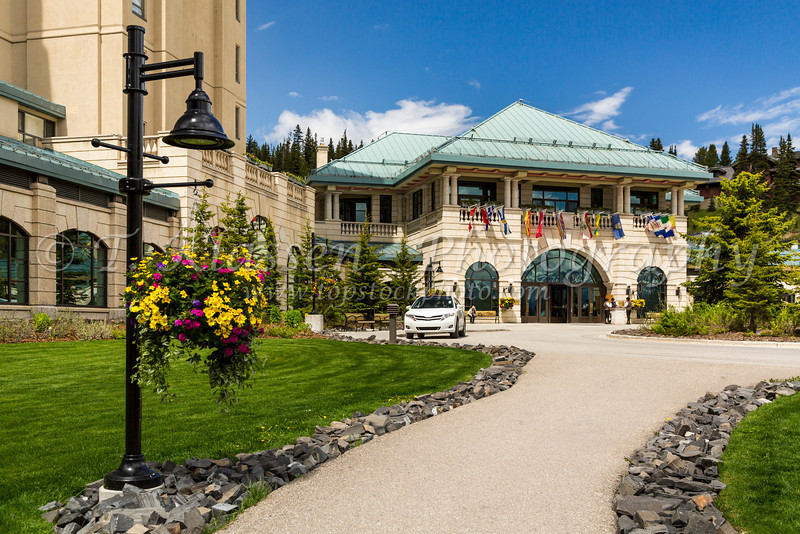 The entrance to the Fairmont Chateau Lake Louise Hotel at Lake Louise, Banff National Park, Alberta, Canada.