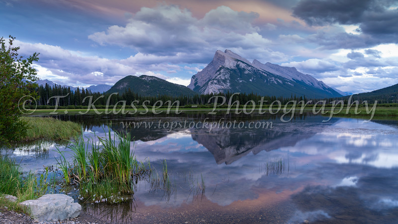 Mount Rundle and the Vermilion Lakes at sunset, Banff National Park, Alberta, Canada.