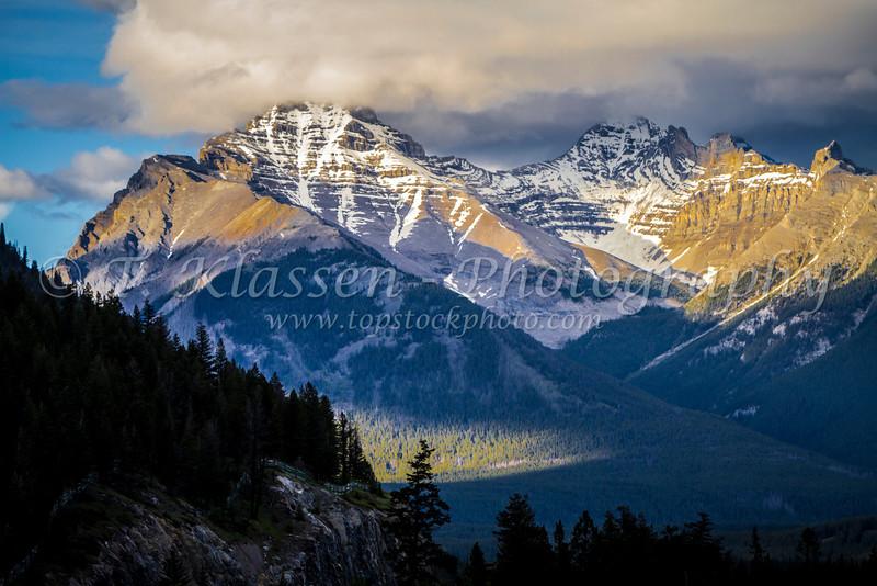 Glaciated mountain peaks in Banff National Park, Alberta, Canada.