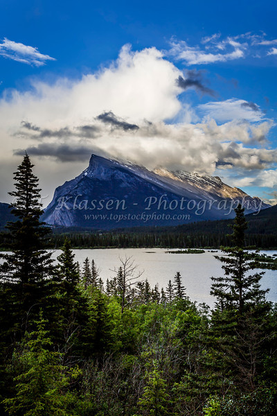 Mount Rundle and clearing storm clouds in Banff National Park, Alberta, Canada.