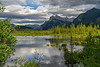 Mount Rundle and the Vermilion Lakes in Banff National Park, Alberta, Canada.