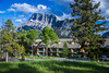 A resort on Tunnel Mountain with Mount Rundle in Banff, Banff National Park, Alberta, Canada.
