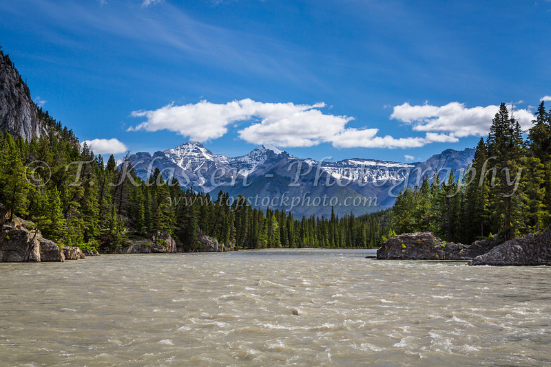 The Bow River in Banff, Banff National Park, Alberta, Canada.