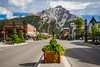 Main Street Banff with Cascade Mountain in Banff National Park, Alberta, Canada.