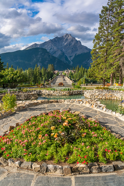 The Cascades of Time Gardens in the Banff Townsite, Banff, Alberta, Canada.