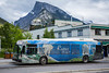 A Banff town transit bus in Banff National Park, Alberta, Canada.