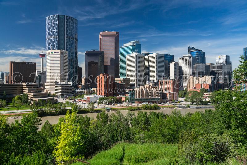 The city skyline and Bow River of Calgary, Alberta, Canada.