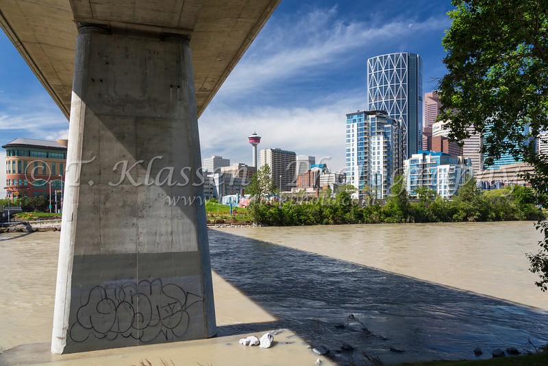 The city skyline and  Bow River of Calgary, Alberta, Canada.