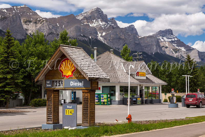 A Shell gasoline station in a mountain setting in Canmore, Alberta, Canada.