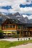 A rustic chalet restaurant in Canmore, Alberta, Canada.