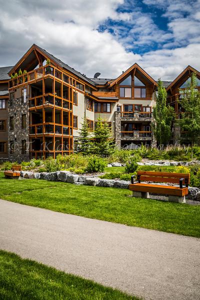 The Spring Creek Mountain Village condominium complex in Canmore, Alberta, Canada.