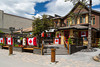 Zonas Restaurant decorated for Canada Day in downtown Canmore, Alberta, Canada.