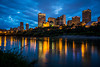 The city skyline and the North Saskatchewan River at dusk, Edmonton, Alberta, Canada.