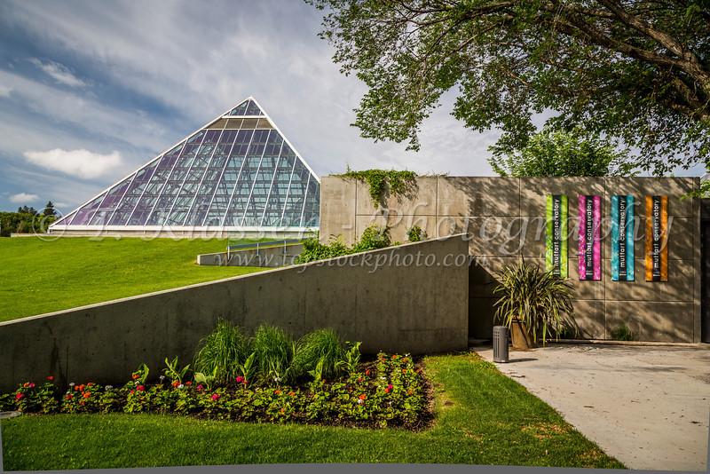 The Muttart Conservatory pyramids in Edmonton, Alberta, Canada.