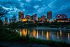 The city skyline and the North Saskatchewan River at dusk, Edmonton, Alberta, Canada.