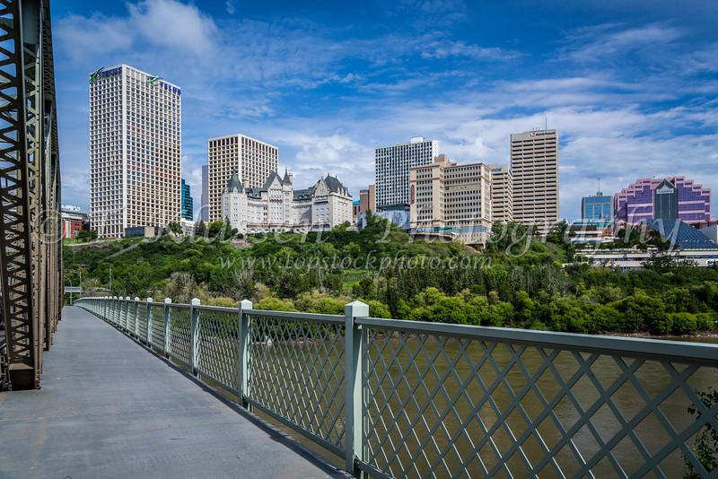 The city skyline and the North Saskatchewan River in Edmonton, Alberta, Canada.