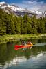 A colorful canoe on Maligne Lake in Jasper National Park, Alberta, Canada.