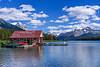 The Maligne Lake boathouse with reflection on Maligne Lake, Jasper National Park, Alberta, Canada.