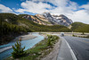 Travel scene with the Icefields Parkway near the bow summit in Banff National Park, Alberta, Canada.