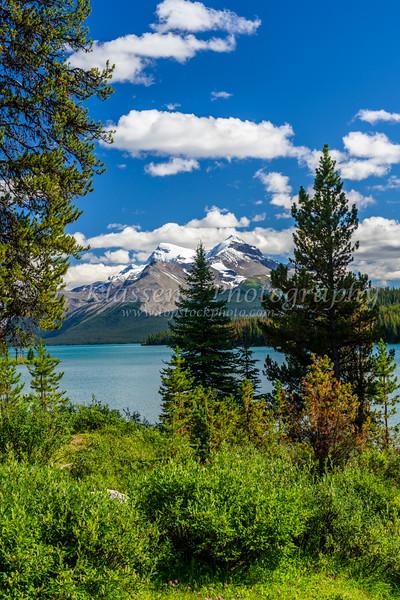 Maligne Lake with reflections, Jasper National Park, Alberta, Canada.