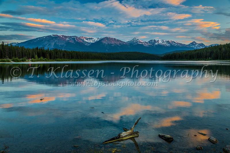 A Patricia Lake sunrise in Jasper National Park, Alberta, Canada.