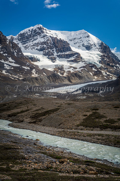Mount Andromeda and the Athabasca River Valley along the Icefields Parkway in Jasper National Park, Alberta, Canada.