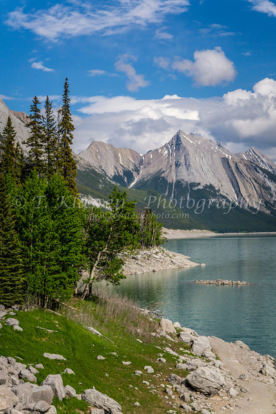 Medicine Lake in Jasper National Park, Alberta, Canada.