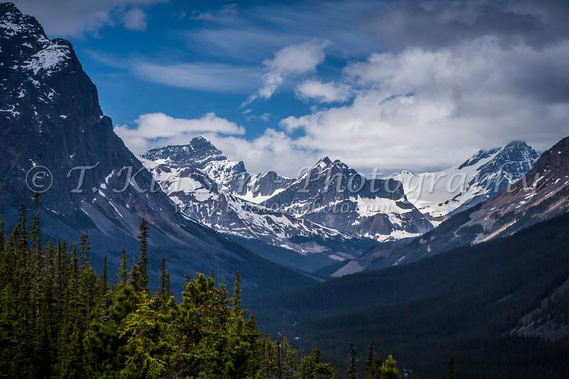 A mountain range in Jasper National Park, Alberta, Canada.