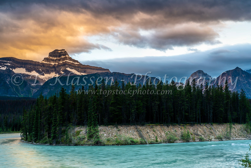 The Athabaska River along the Icefields Parkway at sunet, Alberta, Canada.