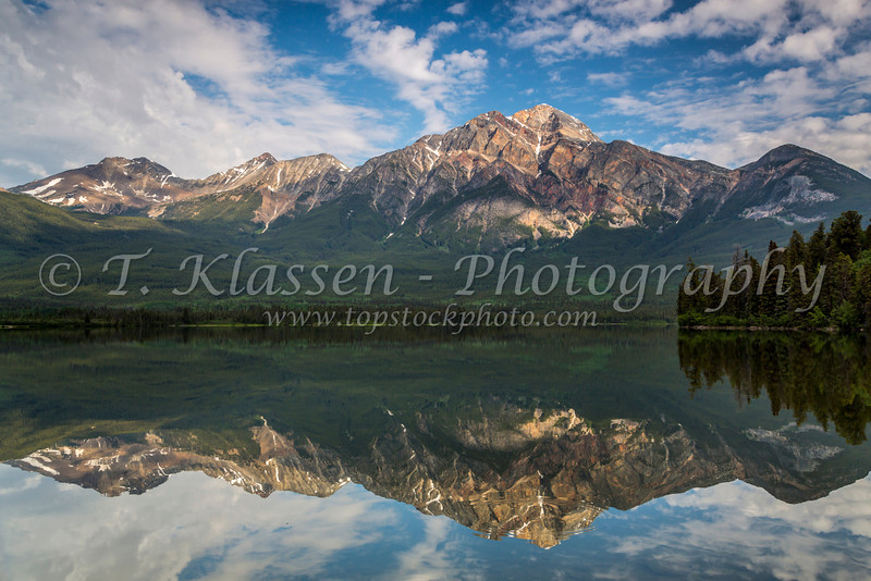 Pyramid Mountain reflections in Pyramid Lake in Jasper National Park, Alberta, Canada.