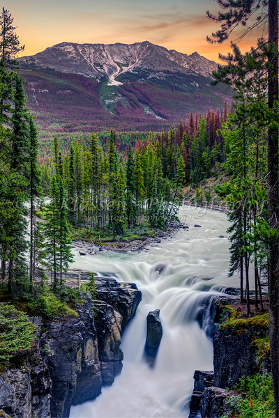 The Sunwapta Falls along the Icefields Parkway, Alberta, Canada.