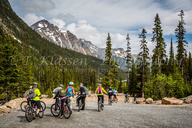 A bicycle rally on the Edith Cavell Road in Jasper National Park, Alberta, Canada.