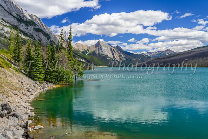 Medicine Lake with reflections in Jasper mNational Park, Alberta, Canada.