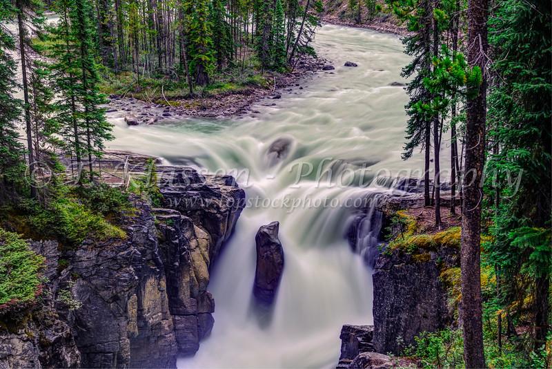 The Sunwapta Falls along the Icefields Parkway, Alberta, Canada.