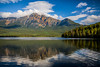Pyramid Lake with reflections of Pyramid Mountain in Jasper National Park, Alberta, Canada.