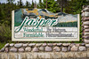 The Jasper National Park entrance sign, Alberta, Canada.